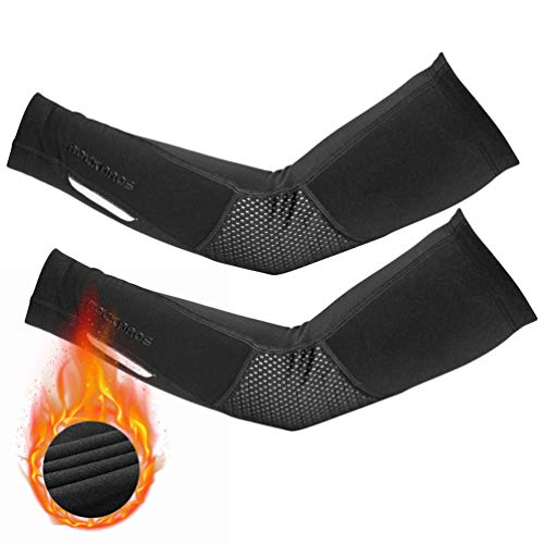 ROCK BROS Thermal Arm Warmer for Men & Women Arm Sleeves for Cycling Running, Autumn & Winter Windproof Warm Fleece Thermal Cycling