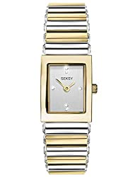 WATCH MATERIAL and DESIGN – gold plated case, silver stone set dial and a two tone gold and silver coloured stainless steel bracelet set with 32 Swarovski crystals along the sides. Perfect for ladies' fashion watches or to dress up in the evening. MO...