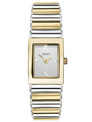Seksy Classic Womens 18mm Quartz Watch in Silver with Analogue Display, and Two Tone Stainless Steel Strap 2865.