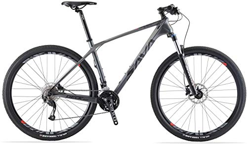 SAVADECK DECK2.0 Carbon Mountainbike 26''/27.5'/29' XC Race Mountain Fahrrad Komplette Hard Tail Kohlefaser MTB mit 27 Geschwindigkeit Shimano Altus M2000 Group Set (Schwarz Grau, 27.5 * 19)