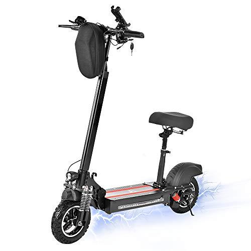 Rendcqin Trottinettes Électrique Pliable avec Siège, Trottinette Electriques Scooter Adulte, Moteur de 600 W, avec écran LCD, Vitesse Maximale de 40Km/h, 40 Km Distance Parcourue, pour Ados et Adulte