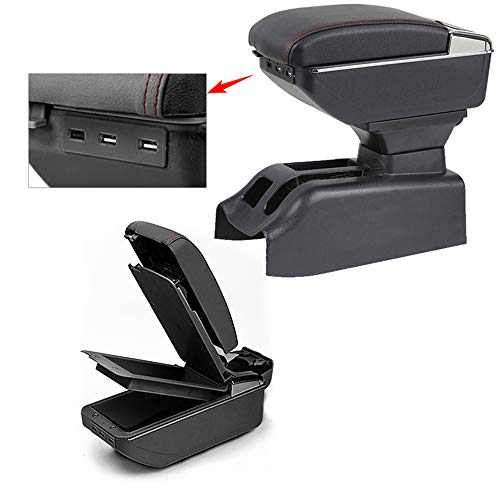 Für Bora Golf 4 Top Auto Armlehne Mittelarmlehne mittelkonsole Zubehör Ladefunktion Mit 7 USB-Ports Doppelter Stauraum Schwarz