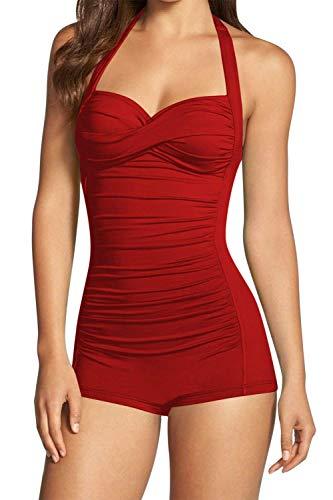 Women's One Piece Tummy Control Swimwear Boyleg Ruched Swimsuit Red XL