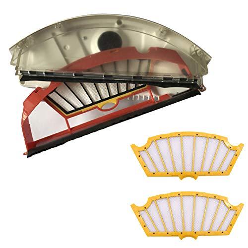 GYing Pièces de rechange pour poubelle à poussière pour iRobot Roomba 500 Series avec 2 filtres supplémentaires – Accessoire pour aspirateur Blanc