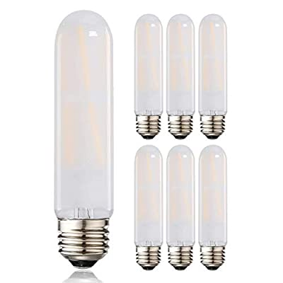 LEOOLS T10 Led Frosted Bulb, 8W Dimmable Tubular LED Light Bulb, 75 Watt Incandescent Bulb Equivalent, 2700K Soft Warm White, Frosted Glass, E26 Base, for Cabinet Display Cabinet etc,6 Pack.