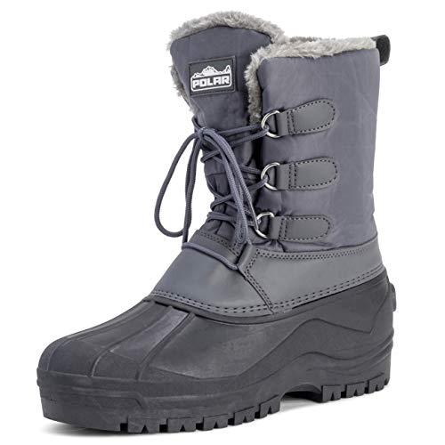 Polar Herren Muck Schnüren Short Nylon Winter Schnee Regen Schnüren Wasserdicht Ente Stiefel - Grau - UK10/EU44 - YC0338