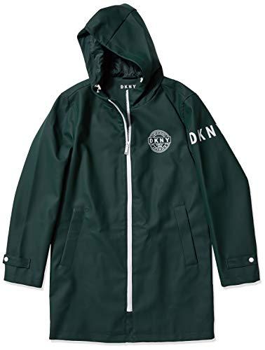 DKNY Men's Classic Long Rubberized Rain Jacket, Army Green, Medium