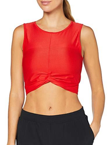 Amazon Brand - AURIQUE Top corto deportivo de malla para mujer, Rojo (Flame Scarlet), 36, Label:XS