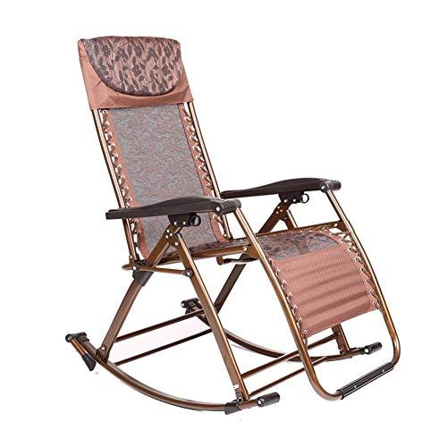 Tumbona Silla Gravedad Cero Silla plegable silla de salón Mecedora Silla de playa al aire libre Se puede utilizar for la sala de estar de la habitación for tomar el sol en la playa ( Color : Brown )