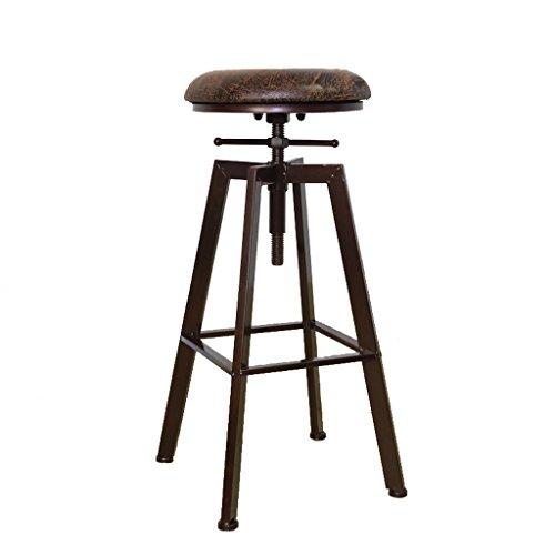 Tabouret de bar rétro en fer forgé, tabouret de café rotatif créatif (Color : Brown)