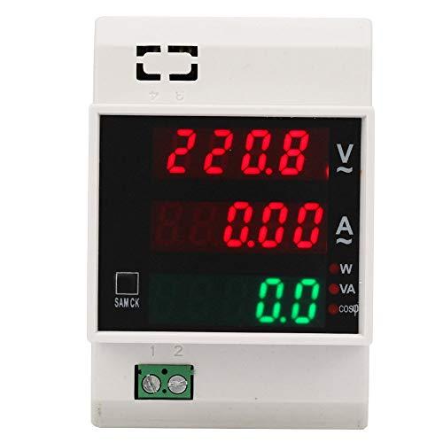 Medidor de energía digital de riel DIN, medidor de voltímetro LED Medidor de factor de potencia activo, multímetro de corriente de potencia de doble pantalla de alta precisión(AC80-300/100A)