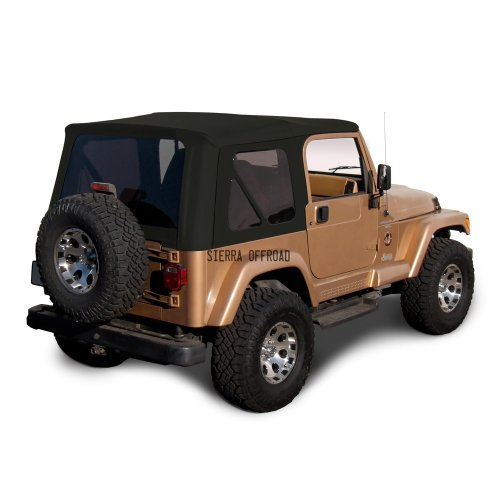 Sierra Offroad Soft Top Replacement for Jeep Wrangler TJ 1997-2006 Factory Style, Sailcloth Vinyl, Black