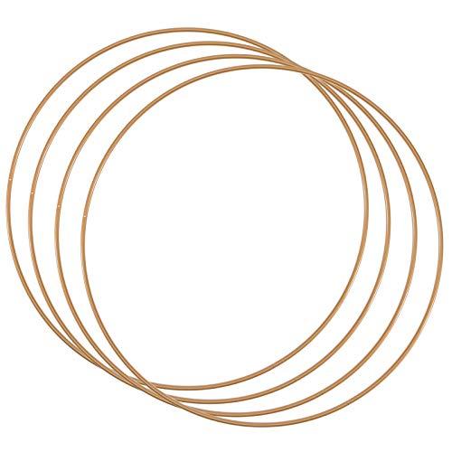 Vaessen Creative Metallringe, 4 Stück, Antik Gold, Dekoringe Ø 25 cm aus 3 mm Metalldraht, zum Traumfänger Basteln, Makramee Knoten, Mandala Häkeln sowie Gestalten weiterer Wanddeko und Fensterdeko
