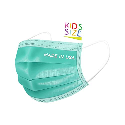 DermSource 3-Ply Disposable Face Masks for Kids | MADE IN USA | Non Woven, Breathable Face Mask with Ear Loop and Adjustable Nose Clip | Lightweight Face Cover for Girls and Boys | (Green)