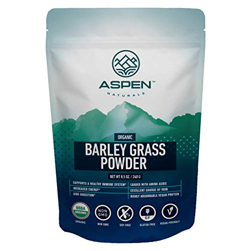 Aspen Naturals Organic Barley Grass Powder - USA Grown, Premium Superfood. Supports a Healthy Immune System and is Rich in Amino Acids, Vitamins, & Chlorophyll. Add to Juice, Smoothies & More