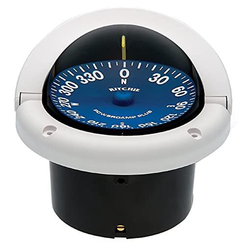 Ritchie Navigation SS-1002W Supersport Flush Mount Compass, White with Blue Dial, 3-3/4-Inch,...