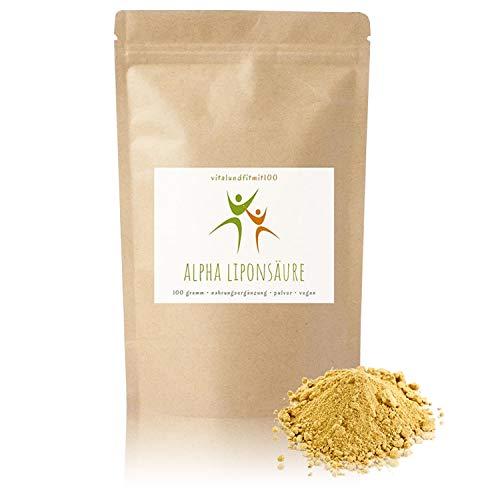 Alpha Liponsäure Pulver - 100 g - Antioxidationsmittel - in geprüfter Qualität - für Diabetiker besonders geeignet - 100% vegan- glutenfrei, laktosefrei - OHNE Hilfs- u. Zusatzstoffe