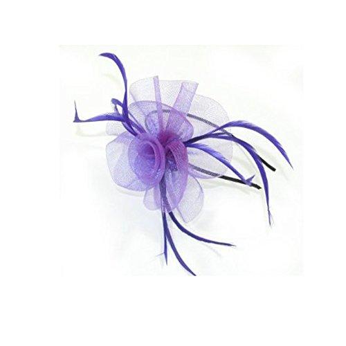 Cristal innovation-4000à filet et Bibi avec plume avec détail Centre sur un étroit Noir aliceband. (en violet)
