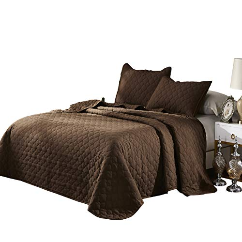 Oversize Queen Stitched Brown Color Quilted Flower Design Bedspread Coverlet 106 by 100 inches plus 2 Standard Shams 20 by 26 inch Hypoallergenic Reversible,Home, Hotel,Motel, Rentals - 6.28 lbs
