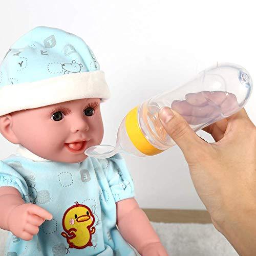 Cuchara de alimentación para bebés Alimento Pedido aleje Botella a Prueba de Fugas Jugo de Cuchara de bebé (Azul) LNNDE (Color : Yellow)