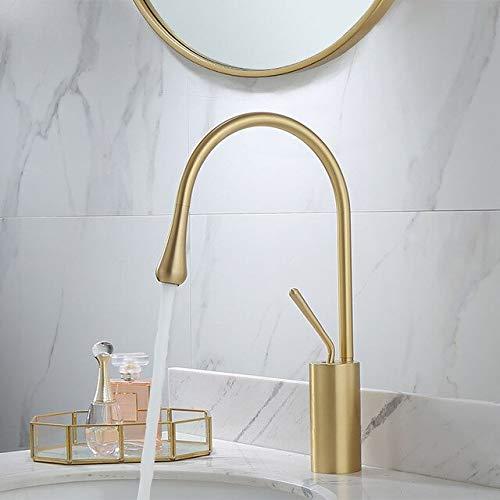 BDWS Grifo monomando para lavabo dorado cepillado, palanca de rotación 360, mezclador de latón, para cocina, lavabo de baño frío y caliente fregadero fregadero fregadero Israel Brushed Gold A2