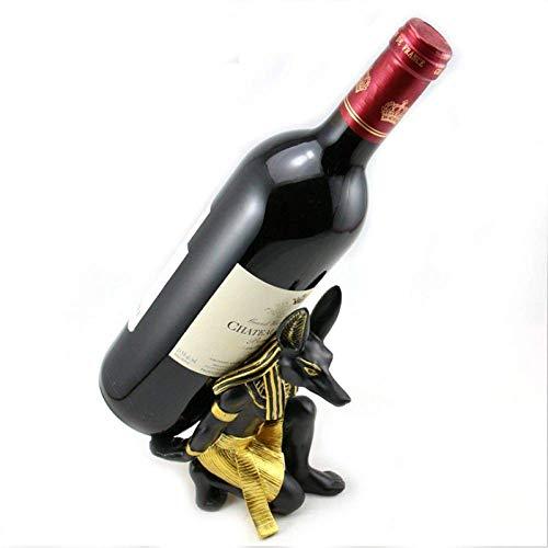 WJSW Skulptur ERMAKOVA Weinregal Harz Ägypten Anubis Gott Flaschenhalter Alte Ägyptische Gottheit Weinständer Home Bar Büro Desktop Dekoration