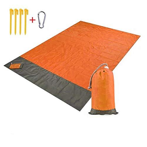 Manta de playa de gran tamaño Colchoneta de playa portátil al aire libre Plegable Bolsillo para acampar Estera de picnic Impermeable Carpa a prueba de humedad Colchón de suelo Manta liviana Naranja
