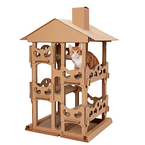 Furhaven Pet Cat Furniture - Corrugated Cat Scratcher Cardboard Tower Playground Condo Hideout Pet...