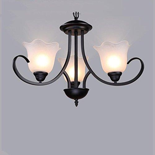 ZHANGRONG-Araña de luces- Araña simple americana del hierro para la sala de estar Tienda de ropa del dormitorio Restaurante occidental (8 cabezas, 6 cabezas, 3 cabezas) --Interior araña de luces ( Color : Segmented remote control , Tamaño : 3 cabezas )