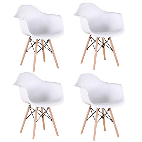 BenyLed 4er Set Esszimmerstuhl mit Armlehne und Buchenholz Retro Design Stuhl Nordischer Stil...