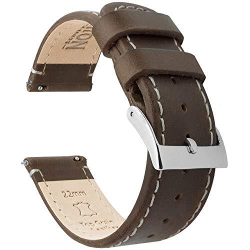 Barton Quick Release - Correas de Reloj Cuero de 18mm Saddle Leather/Linen White Stitching