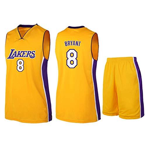 Camiseta de Baloncesto para Hombre, NBA Los Angeles Lakers #8 Bordado Transpirable y Resistente al Desgaste Camiseta Pantalones Cortos para Fans,Amarillo,M