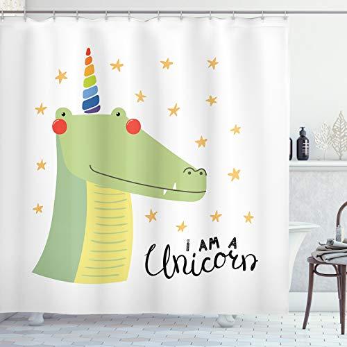 ABAKUHAUS Krokodil Duschvorhang, Ich Bin EIN Einhorn mit Sternen, Moderner Digitaldruck mit 12 Haken auf Stoff Wasser & Bakterie Resistent, 175x220 cm, Mehrfarbig