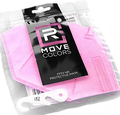Rmove 10 pezzi di mascherine FFP2 colorate Rosa + gancio Certificate CE mascherina rosa ffp2 (Pink, 10 pezzi)