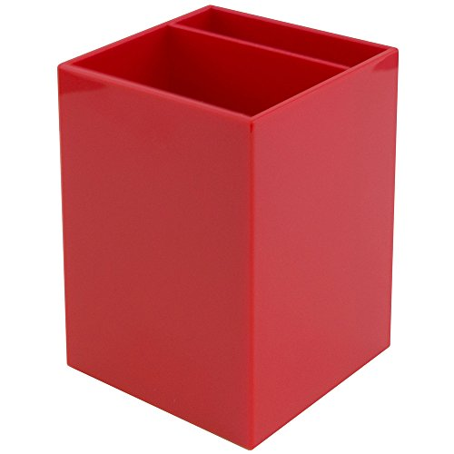 JAM PAPER Plastic Pen Holder - Red - Desktop Pencil Cup - Sold Individually