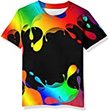 Neemanndy Boys Girls Colorful Shirts 3D Graphic Paint Splatter Short Sleeve Casual Shirts for Teens and Kids, 8-10 Years