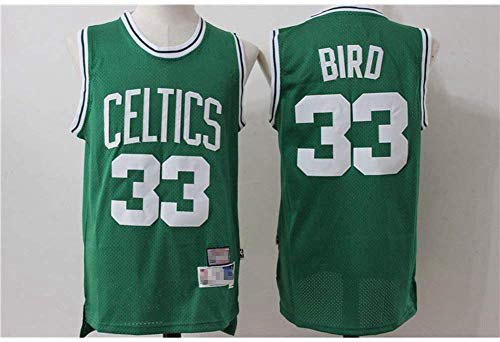Wo nice Jersey De Baloncesto para Hombres, Boston Celtics # 33 Larry Bird NBA Verano Suelto Jersey Casual Chaleco Sin Mangas Camiseta Deportiva Top Baloncesto Uniforme,Verde,S(165~170CM)