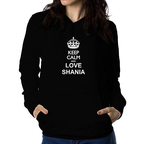 Teeburon Keep Calm and Love Shania Sudadera con Capucha para Mujer