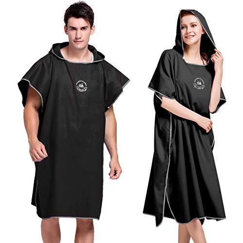 Powcan Poncho De Toalla con Capucha para Adultos Bata para Hombre Y Mujer Ideal para Vacaciones, Triatlón, Playa, Baño (Negro)