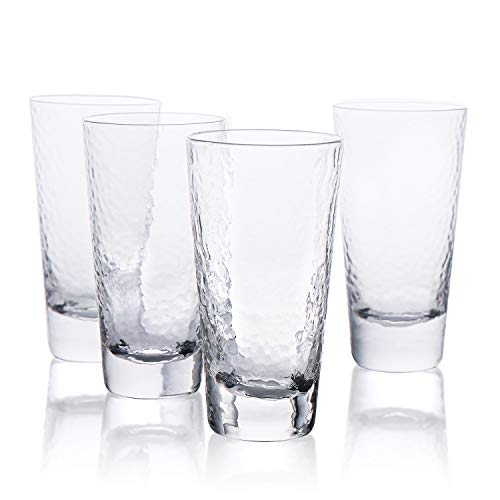 Kanwone Highball Glasses  12 Ounce Heavy Base LeadFree Drinking Glasses for Cocktails mixed drinks Juice Water and Ice Tea Beverage Cups Set of 4
