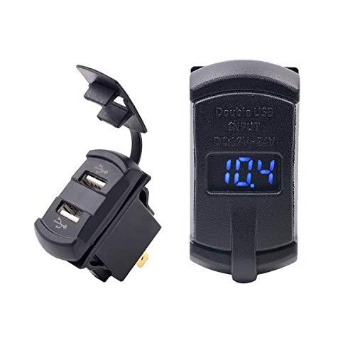 GOFORJUMP Nouveau in1 Rocker Style avec Voltmètre à Affichage numérique à LED Bleu Rouge LED 4.2A Dual USB Black Car USB Chargeur avec Voltmètre