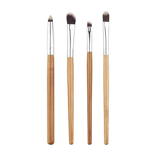 MEIYY Pinceau de maquillage 4Pcs Cosmetic Makeup Brushes Set Eyebrow Eyeshadow Powder Contour Make Up Brushes Bamboo Make Up Maquillage