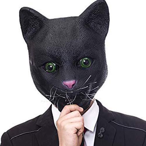 Molezu Halloween Novelty Mask Costume Party Latex Cat Animal Mask Head Mask(Black Cute Cat)