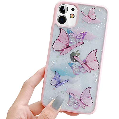 hzcwxqh Cute Bling Glitter Clear iPhone 11 Iridescent Butterfly Phone Case for Women Slim Thin Soft Silicone [Sparkle Stars Shockproof Drop Protection] Compatible for Apple iPhone 11 6.1 inch - Pink