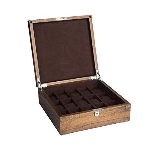 GYMEIJYG Caja De Almacenamiento De Reloj 15 Ranuras Caja De Reloj De Madera Caja De Reloj con Cerradura Franela Recubrimiento (Color : Beige-a, Size : 31x31x11.7cm)