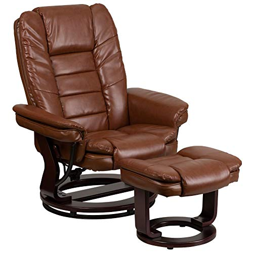 Flash Furniture Contemporary Multi-Position Recliner with Horizontal Stitching and Ottoman with...