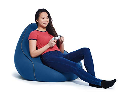 Yogibo Lounger Bean Bag for Adults, Teens, Personal Sized, Single Beanbag Lounge Chair with Raised Back or Gaming, Reading, and Relaxing, Removable, Washable Cover, Blue