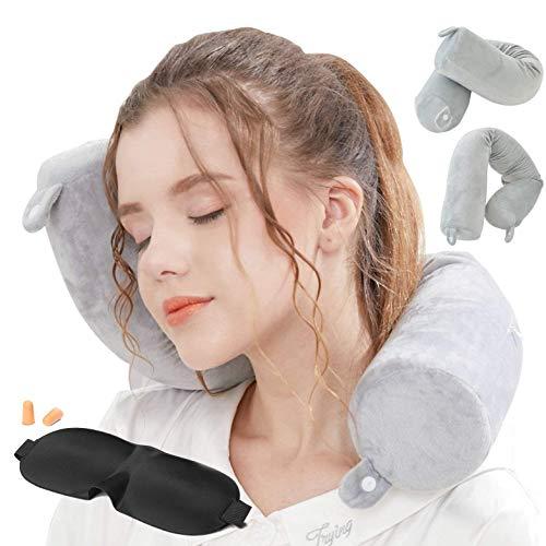 Lucear Memory Foam Leichte Schlafkissen waschbarer Flugzeug Halsstütze Kopfstütze Reise-Nackenkissen mit Schlafmaske, Ohrstöpseln Und Tragetasche