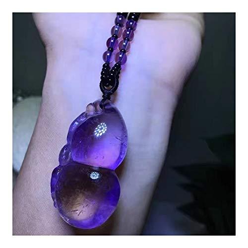AdorabFruit Présent Pendentif Cadena de Cristal Natural de púrpura Colgantes Calabaza Granos Pendientes de la joyería del suéter del Collar de la Suerte for Las Mujeres de los Hombres de Belleza