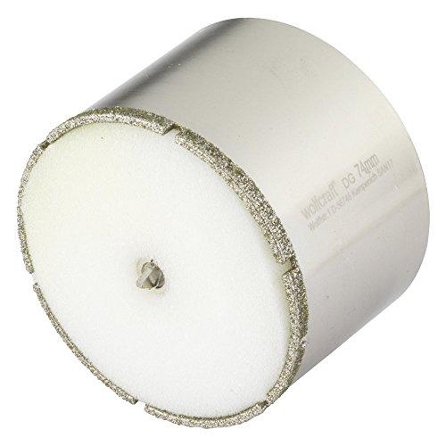 Wolfcraft 5932000 1 Diamant-Lochsäge Ceramic mit Schwamm, 10 mm Schaft Ø 74, 631902000